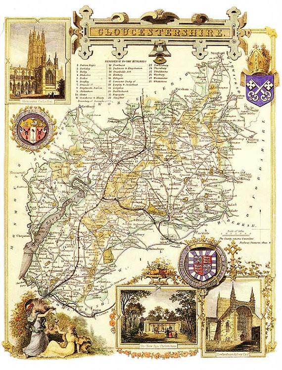 Historic Map of Gloucestershire  Dateman Books
