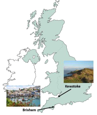 uk map showing pictures of Kewstoke and Brixham